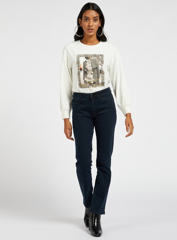 Ribbed Top with Long Sleeves and Pearl Detail