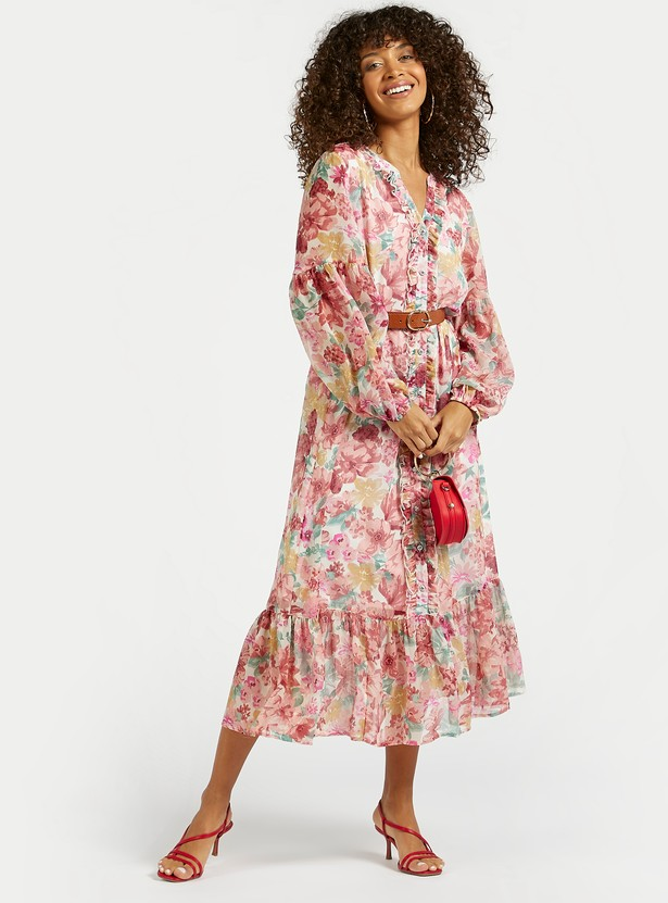 Floral Print A-line Midi Tiered Dress with Ruffle Detail