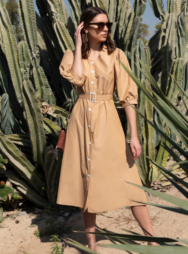 Solid Poplin Midi Dress with Volume 3/4 Sleeves and Belt