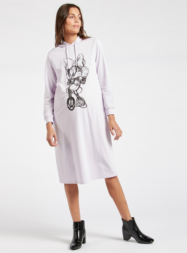 Minnie Mouse Print Maternity Sweat Dress with Hooded Neck