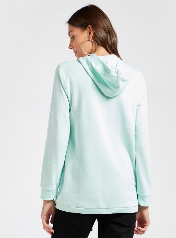 Slogan Print Maternity Hoodie with Long Sleeves
