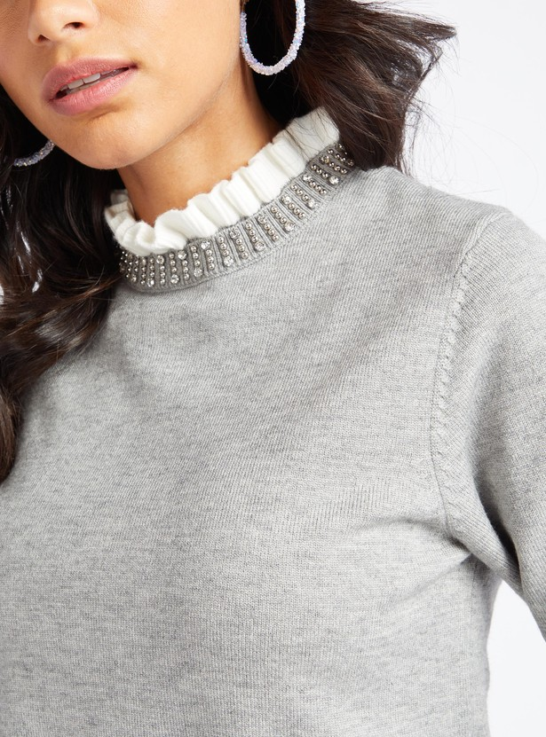 Embellished High Neck Sweater with Long Sleeves and Ruffle Detail