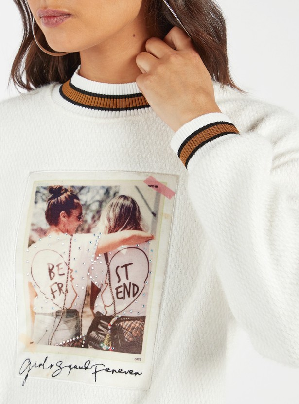 Graphic Print Sweat Top with Stripe Detail and Long Sleeves