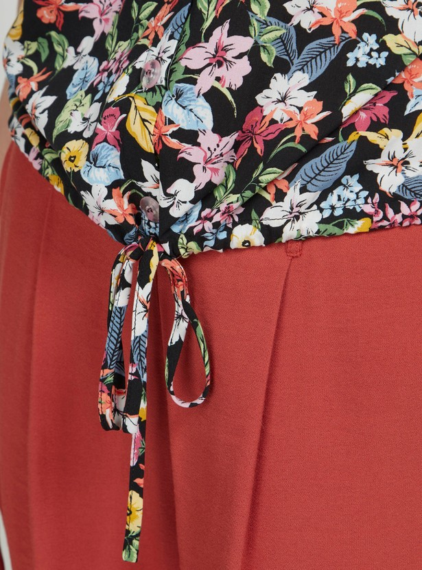 Floral Print Crop Shirt with Short Sleeves and Front Knot Detail