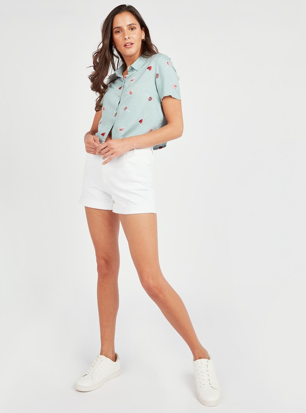 Printed Boxy Crop Shirt with Short Sleeves and Front Knot Detail