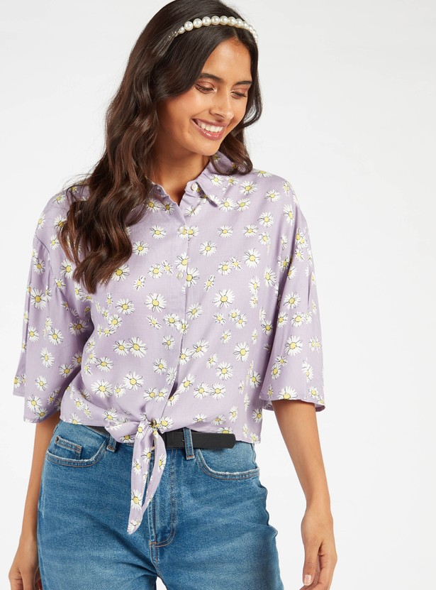 Floral Print Top with Front Knot and Angel Sleeves