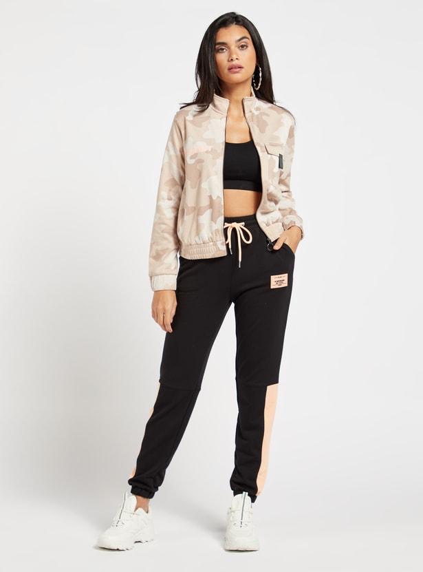 Contrast Panel Jog Pants with Pockets and Drawstring Closure