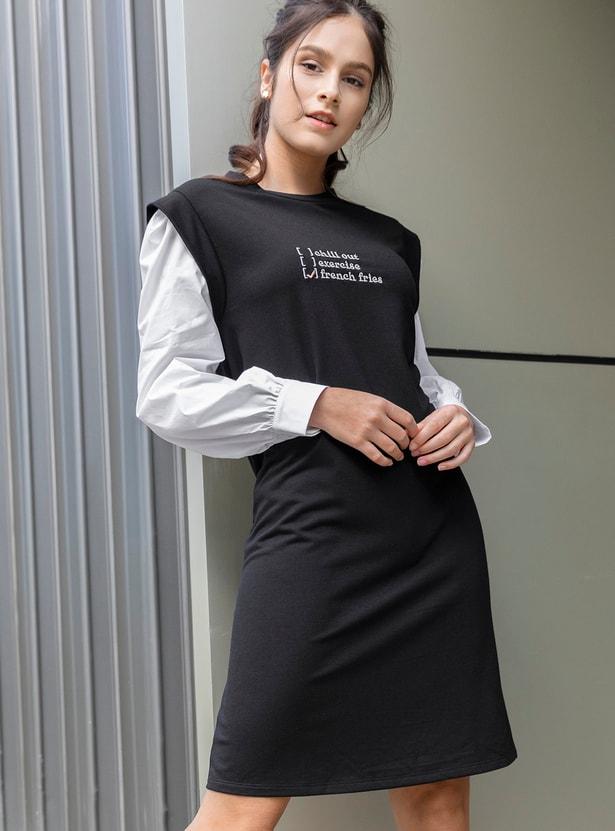 فستان واسع بطول الركبة بأكمام بوبلين وطبعات