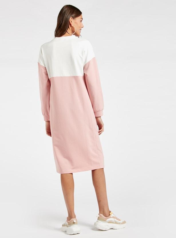 فستان للحوامل ميدي واسع كتل الألوان بياقة ضيقة وأكمام طويلة