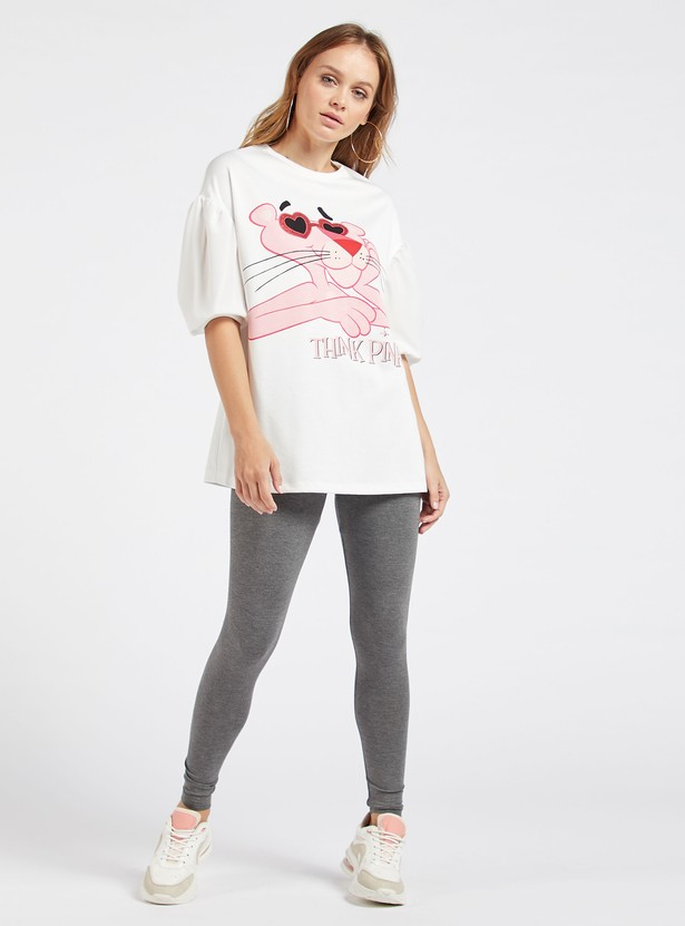 Pink Panther Printed T-shirt with Round Neck and Short Sleeves