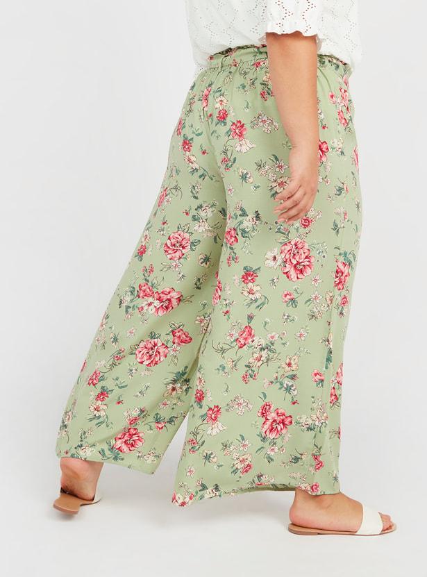 بنطلون بالازو بطبعات أزهار وتفاصيل حزام