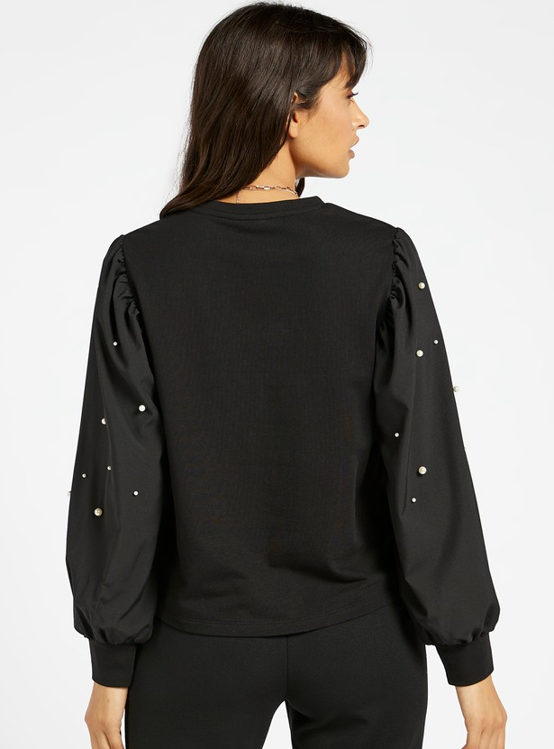 Printed Round Neck Top with Pearl Embellished Poplin Sleeves