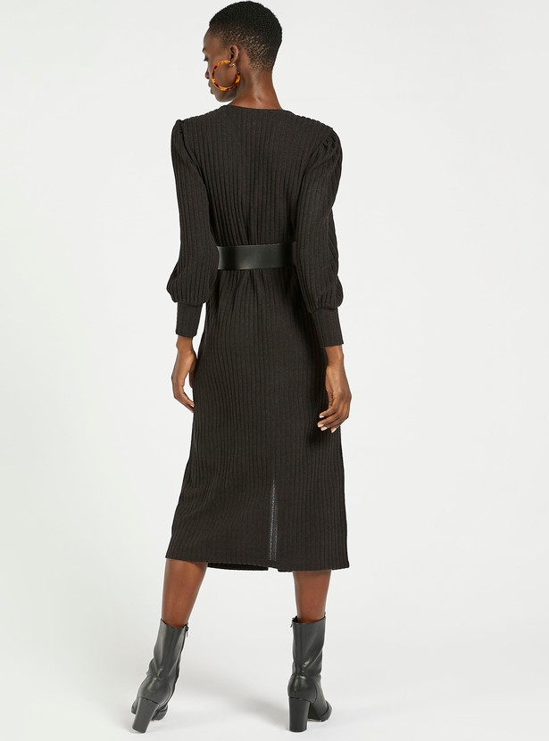 Ribbed V-neck Dress with Long Sleeves and Button Closure