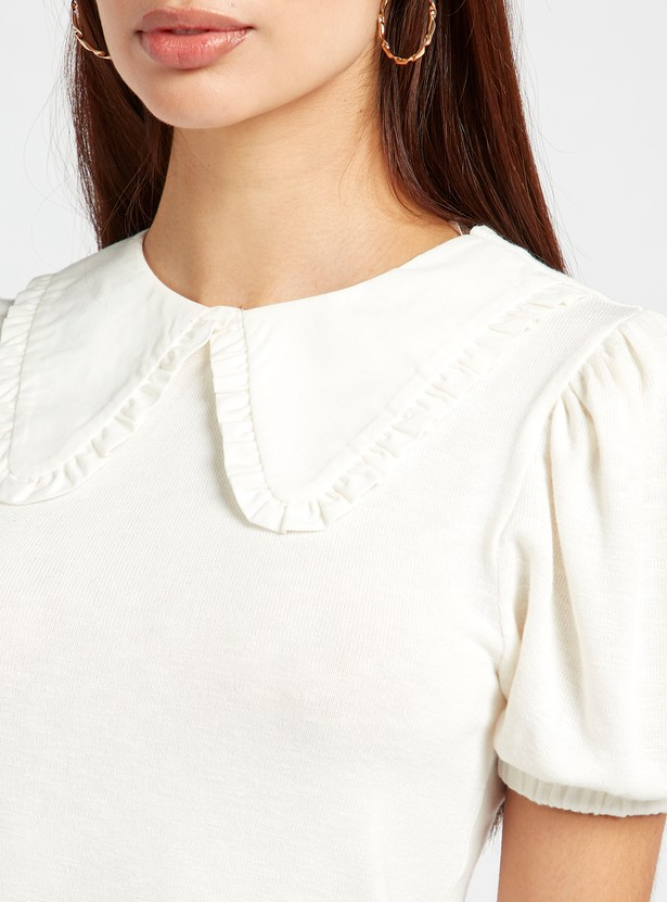 Textured Poplin Collared Top with Puff Sleeves