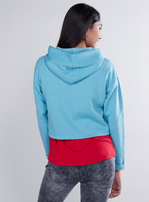 Plain Cropped Hoodie with Long Sleeves