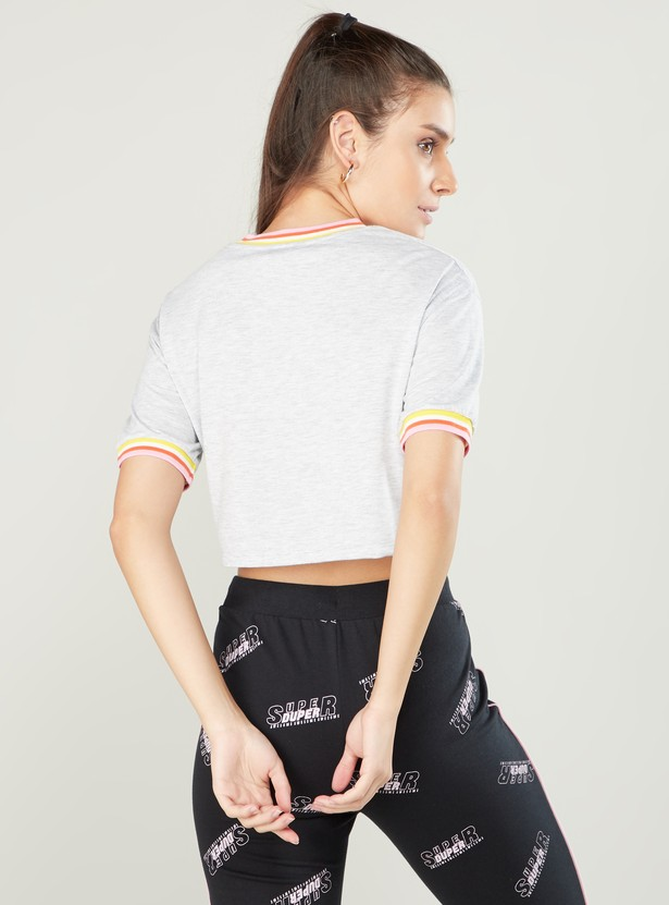 Textured Top with Short Sleeves and Front Knot Detail