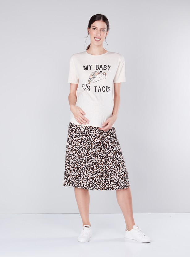 Maternity Printed T-shirt with Embellishments and Round Neck