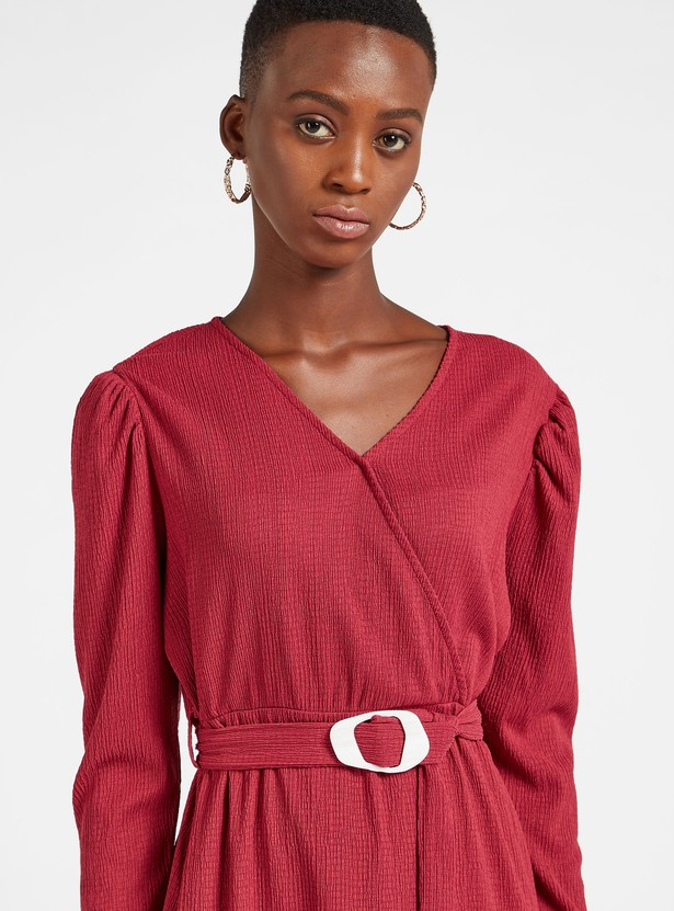 Textured Midi A-line Dress with Volume Sleeves and Belt