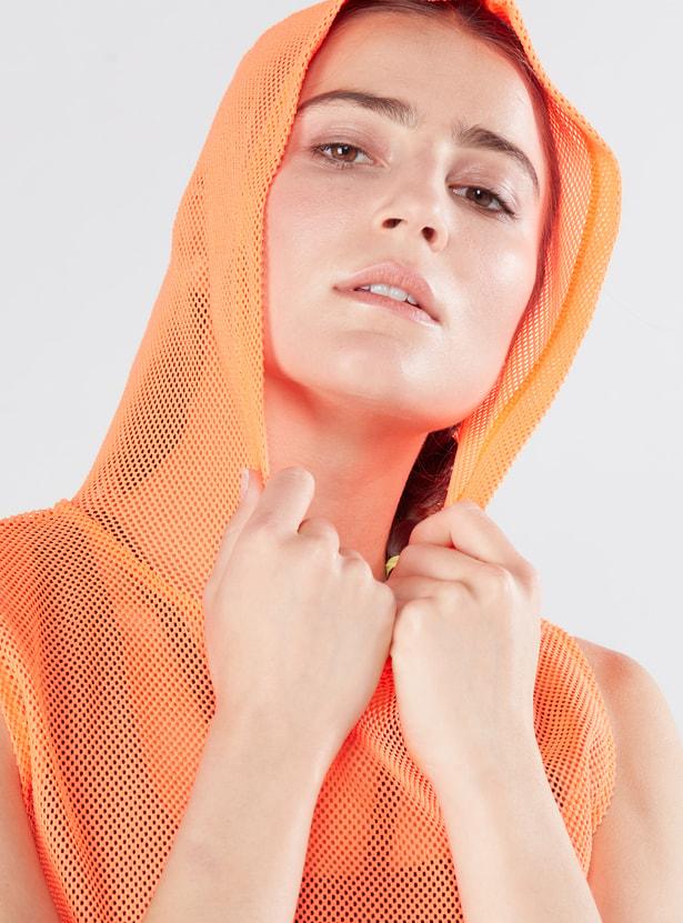 Textured Sleeveless Top with Hood and Kangaroo Pockets