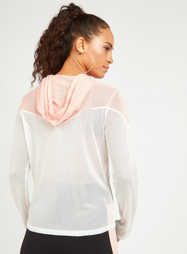 Textured Top with Hood and Chevron Colour Block Detail