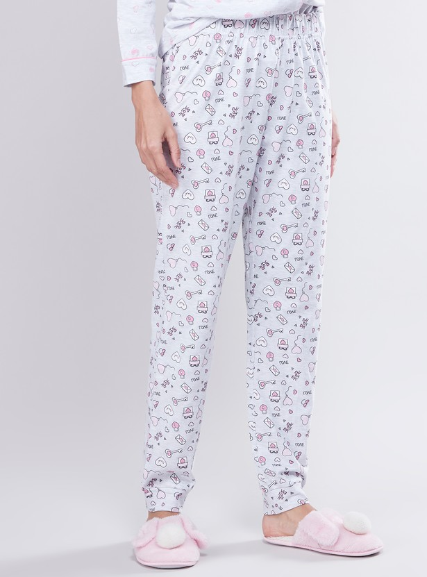 Full Length Printed Pyjamas with Elasticised Waistband