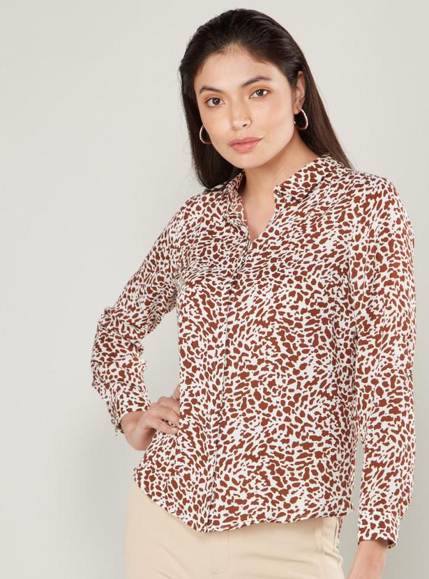 قميص بطبعات حيوانات ووصلة أزرار بأكمام طويلة وياقة عادية