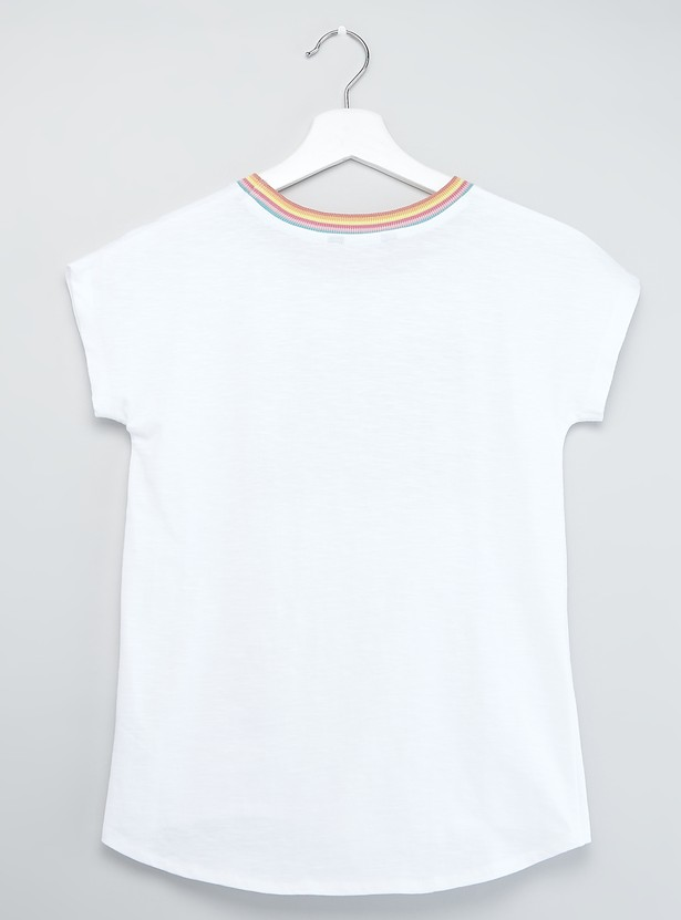 Embossed Text Print Top with Short Sleeves and Knot Detail
