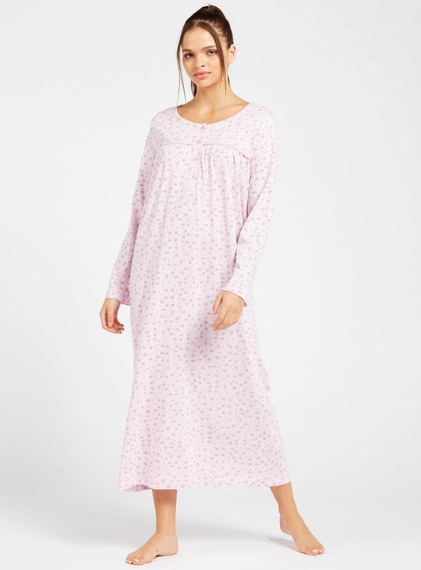فستان نوم بياقة مستديرة وأكمام طويلة وطبعات