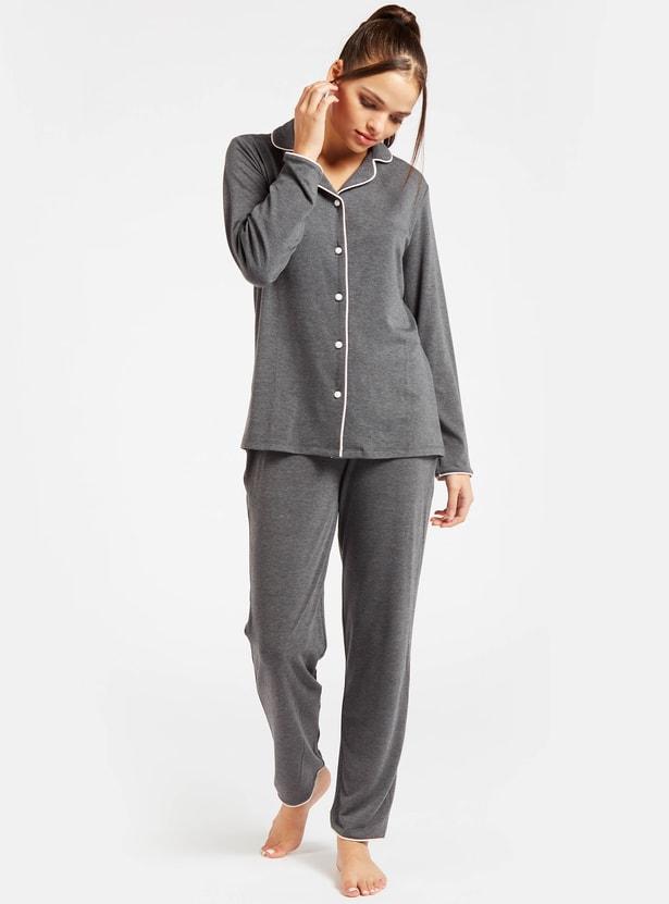 Solid Collared Shirt and Full Length Pyjama Set