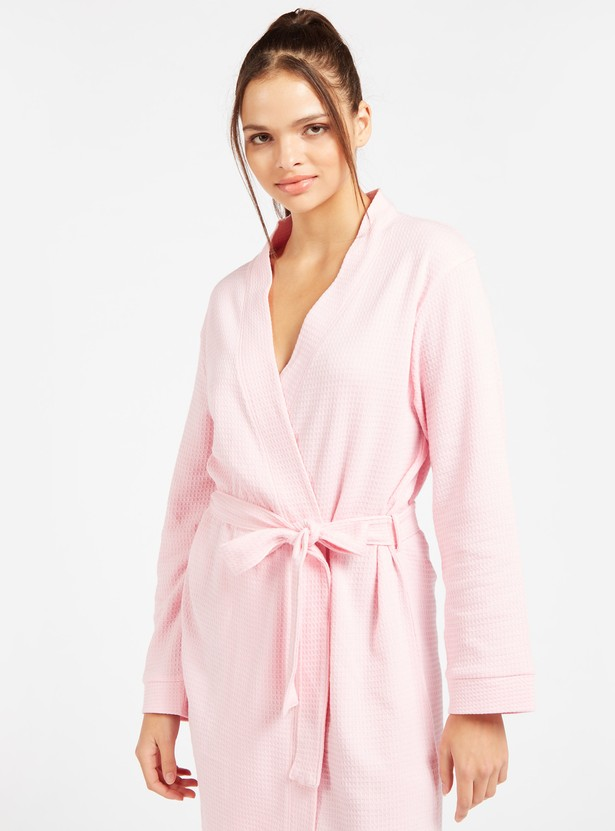 Textured V-neck Robe with Long Sleeves and Belted Waist