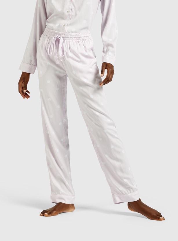 Polka Dot Ruffle Neck Top and Full Length Pyjama Set
