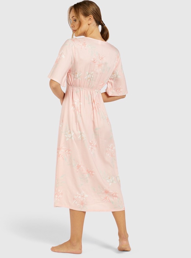 Floral Print Sleepdress with V-neck and Short Sleeves