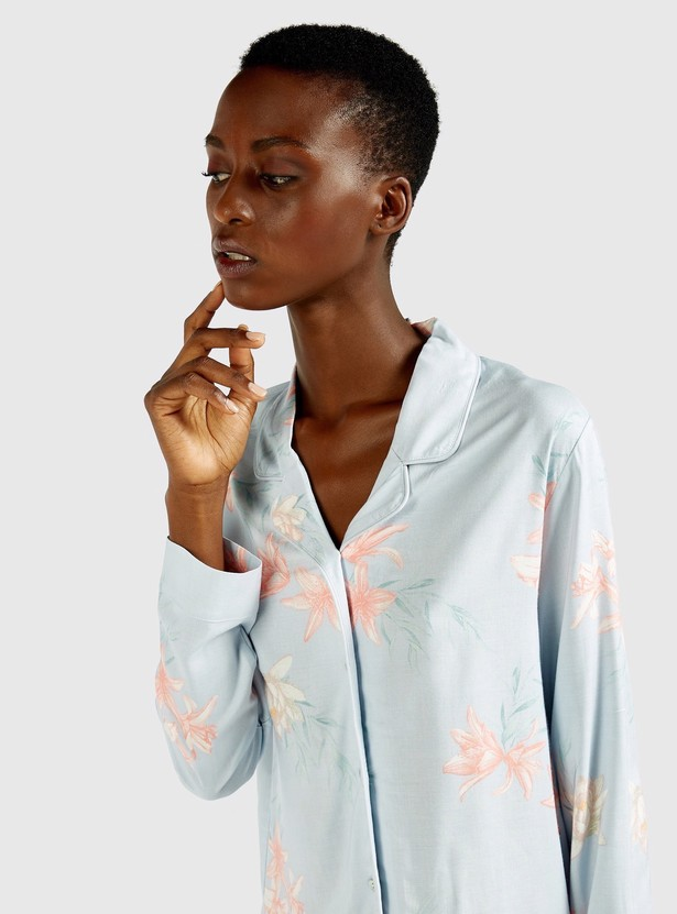 All-Over Floral Print Sleepshirt with Spread Collar and Long Sleeves