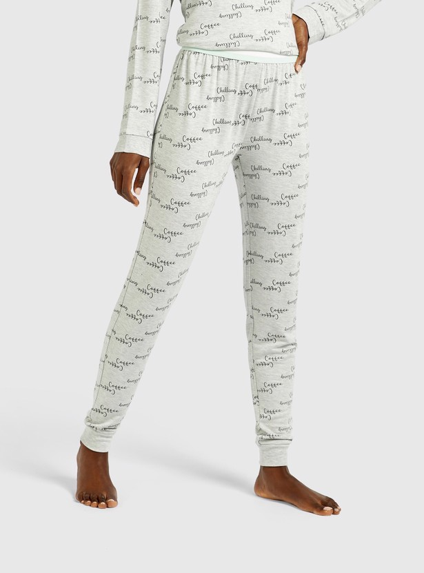 Placement Print Round Neck T-shirt and Joggers Set