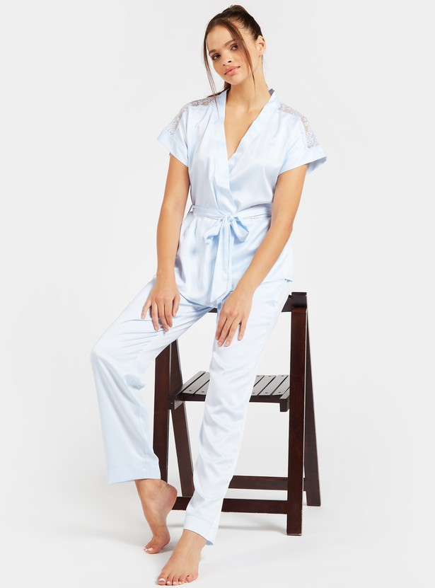 Lace Detail Short Sleeves Top and Solid Pyjama Set