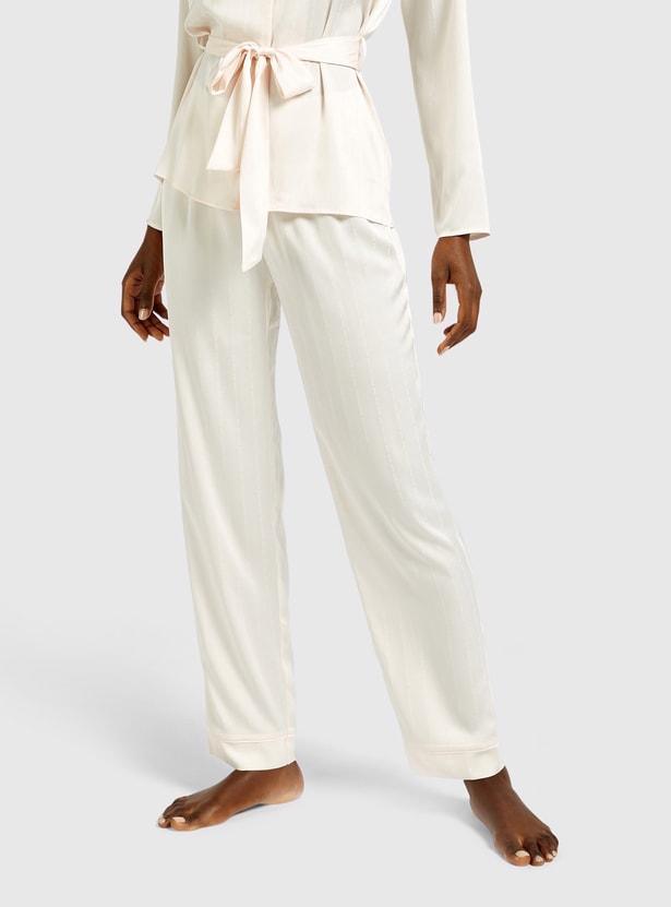 Textured Long Sleeves Sleepshirt and Pyjama Set