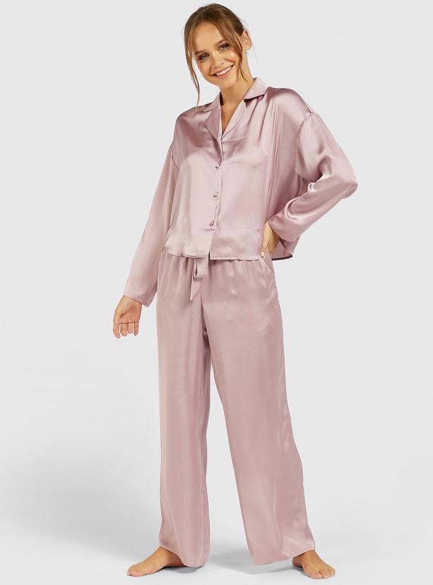 Solid Long Sleeves Shirt and Full Length Pyjama Set