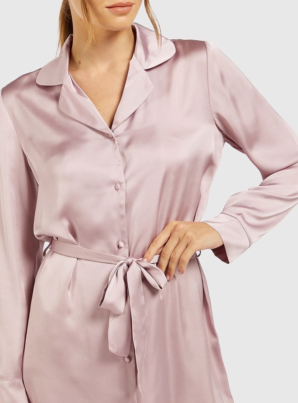 Solid Chemise with Long Sleeves and Tie-ups