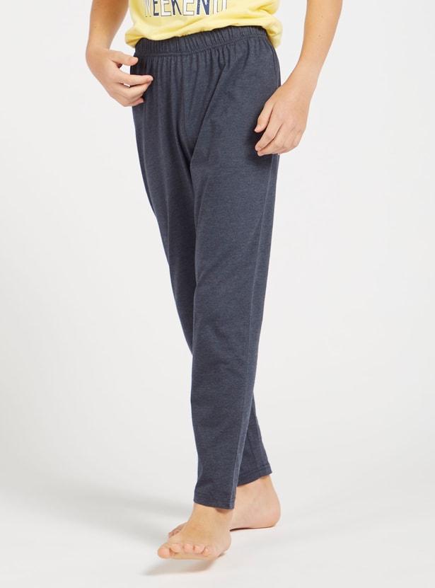 Graphic Print Short Sleeves T-shirt and Solid Pyjama Set