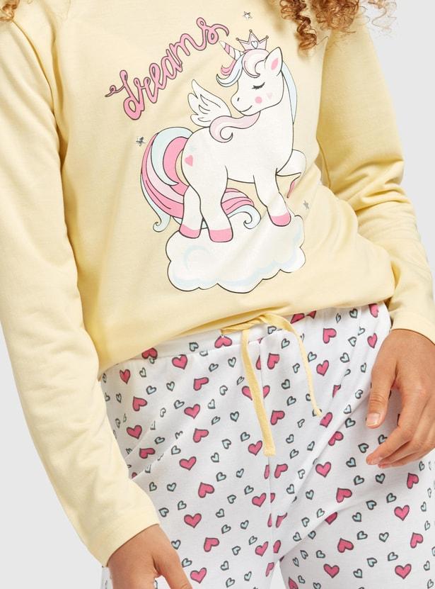 Unicorn Print Long Sleeves T-shirt and Jog Pants Set