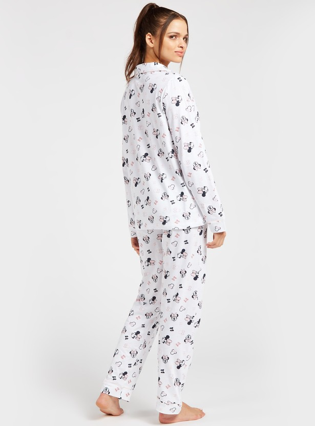Minnie Mouse Print Long Sleeves Shirt and Full Length Pyjama Set