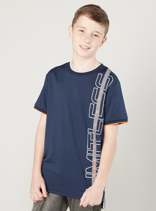 Reflective Print T-shirt with Round Neck and Short Sleeves