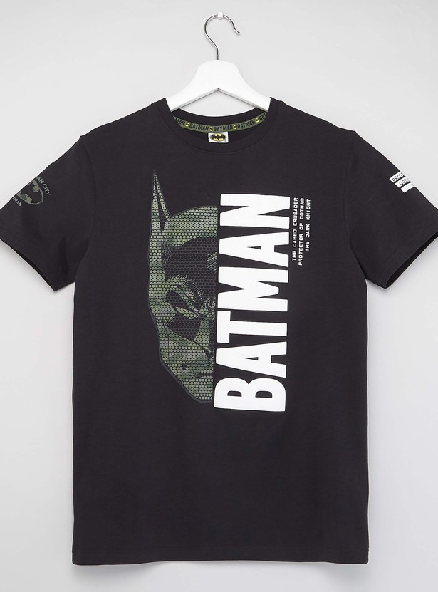 Batman Print T-shirt with Round Neck and Short Sleeves
