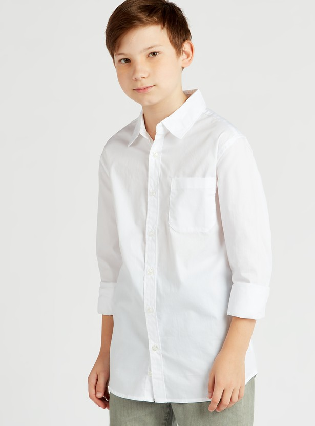 Solid Collared Shirt with Long Sleeves and Chest Pocket