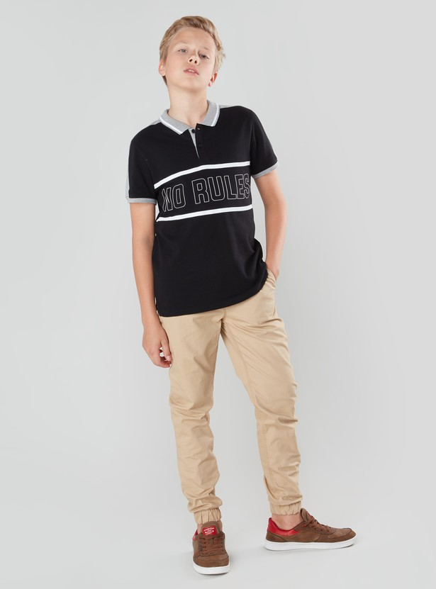 Printed Cut and Sew Polo T-shirt with Short Sleeves