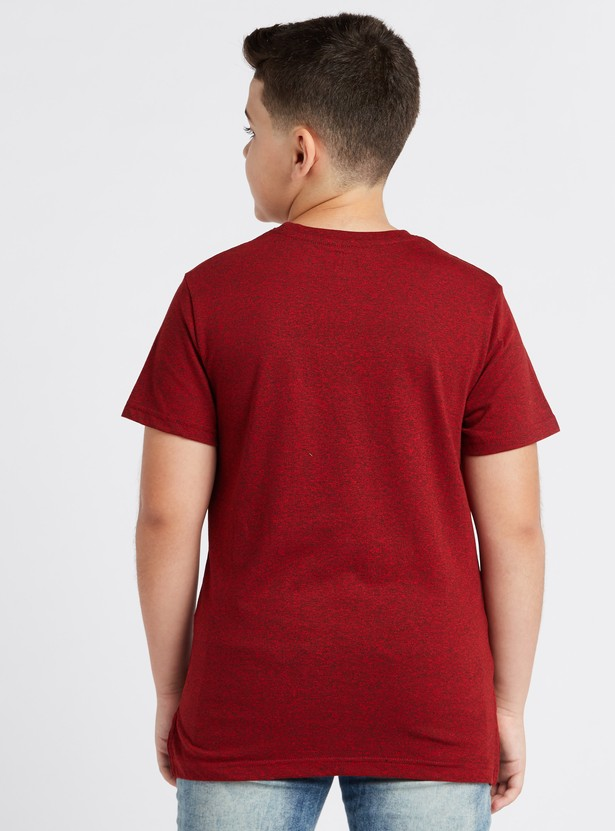 Embossed Round Neck T-shirt with Short Sleeves