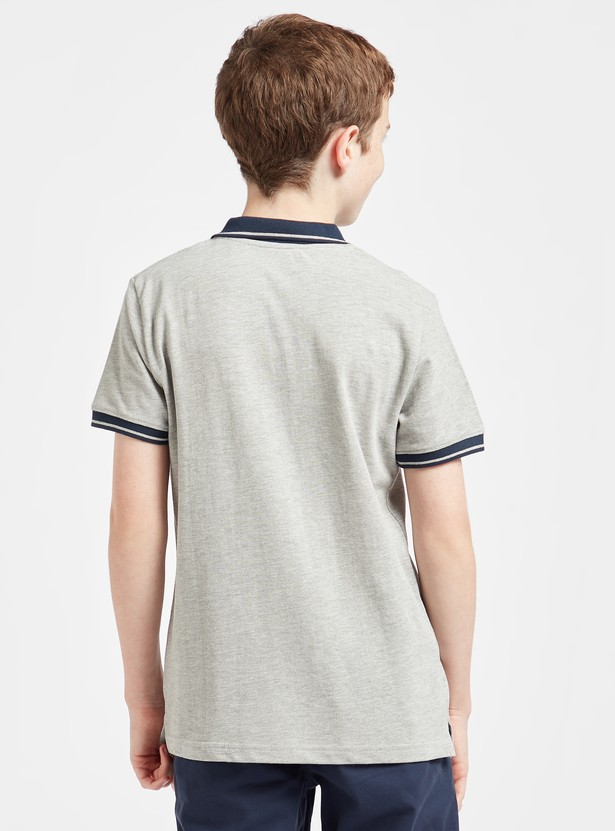 Embroidered Polo T-shirt with Short Sleeves and Button Closure