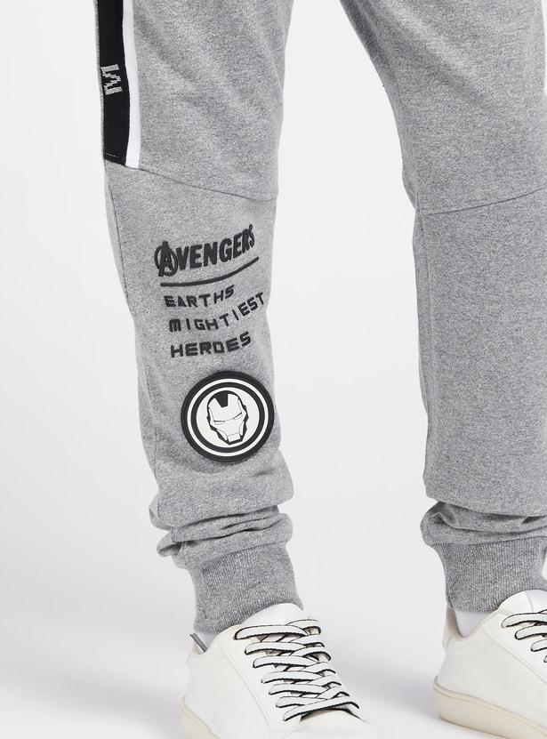 Full Length Avengers Graphic Print Jog Pants with Pocket Detail