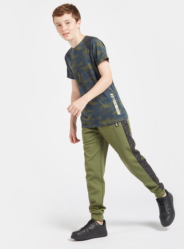 Camouflage Print T-shirt with Round Neck and Short Sleeves