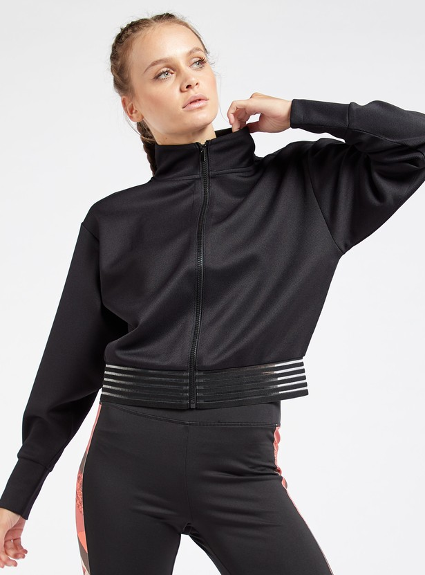 Solid Jacket with Long Sleeves and Mesh Detail